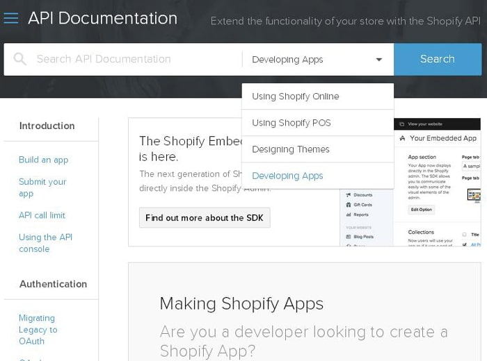 Shopify API documentation