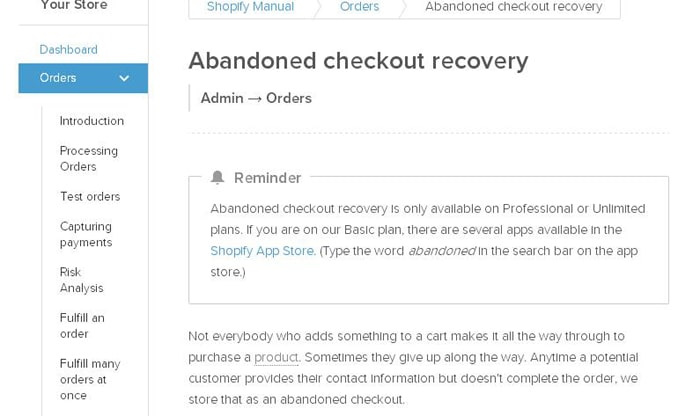 Shopify abandoned cart recovery